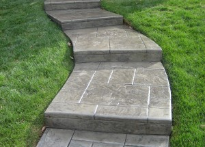 curved stamped front steps