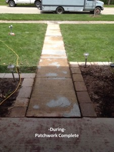 Walkway- Concrete Overlay- During the process